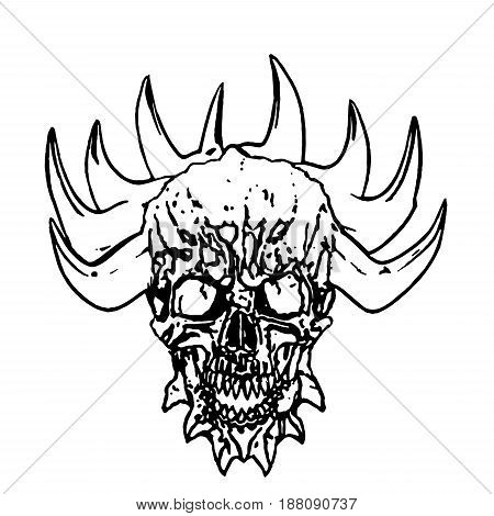 450x470 Apocalyptic Demon Skull Horns. Vector Amp Photo Bigstock