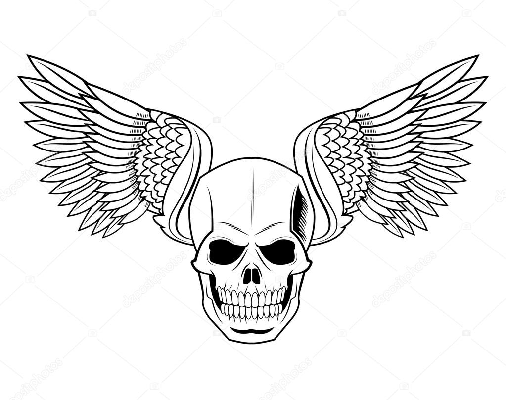 1023x808 Skull With Wings Tattoo Art Design Stock Vector Jemastock