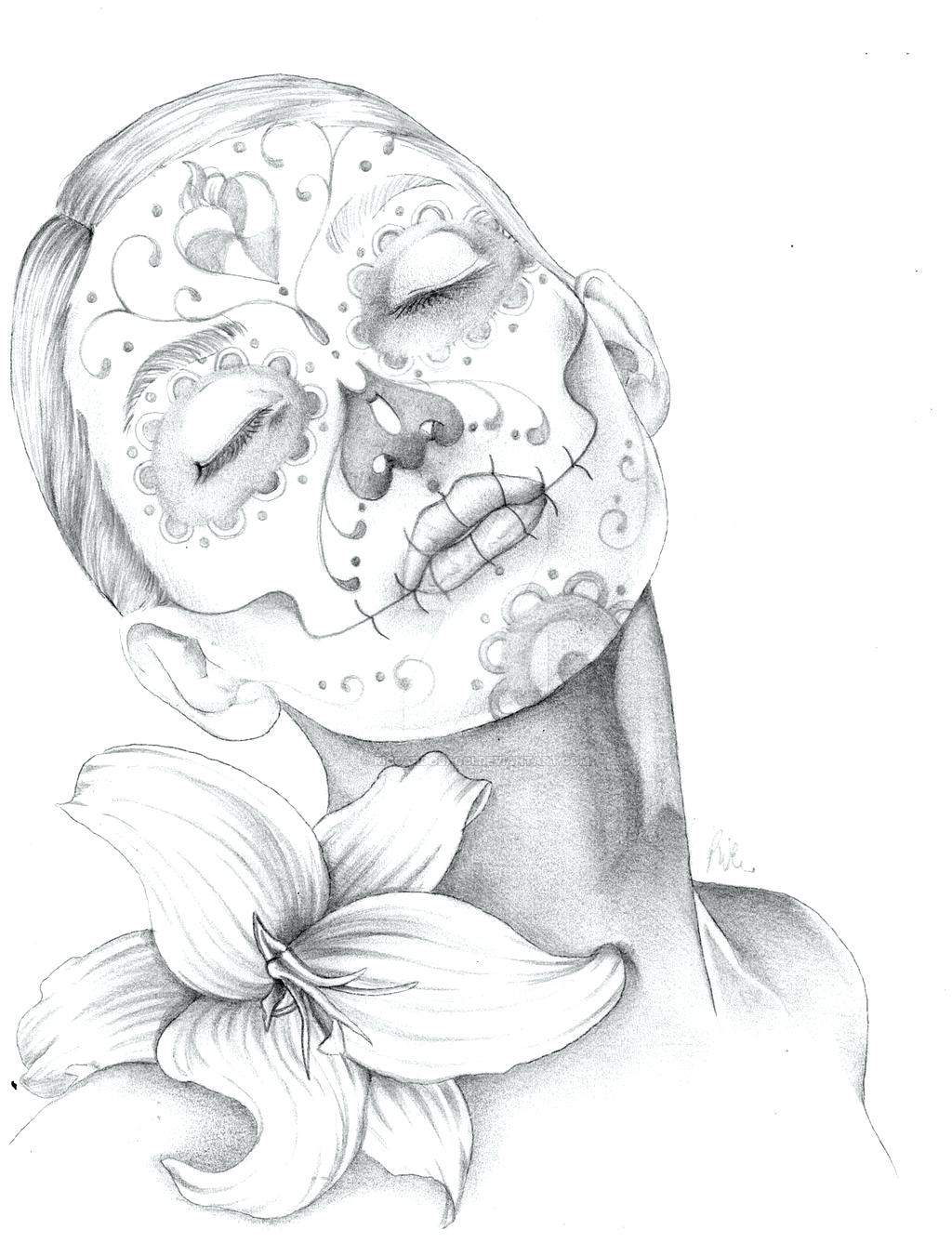 1024x1337 Roses Drawings With Sugar Skulls 95 Exciting Skull Tattoo Outline