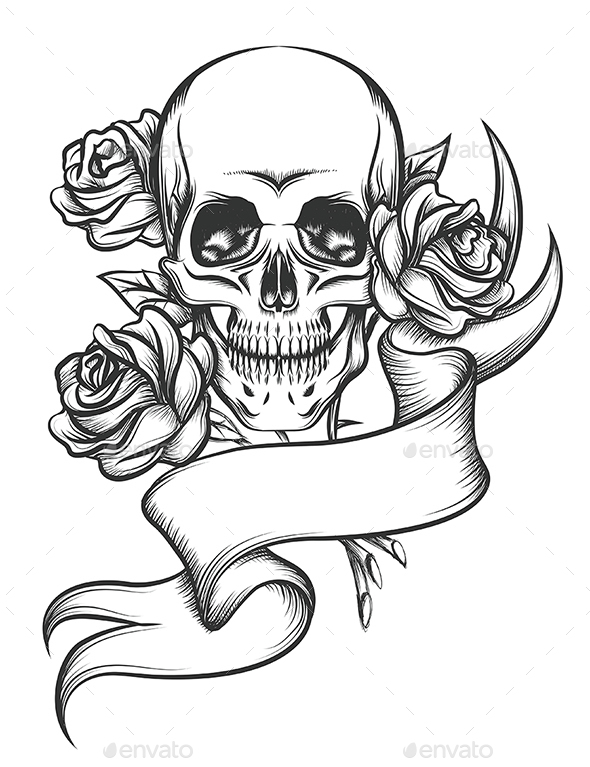 590x767 Skull And Roses With Ribbon