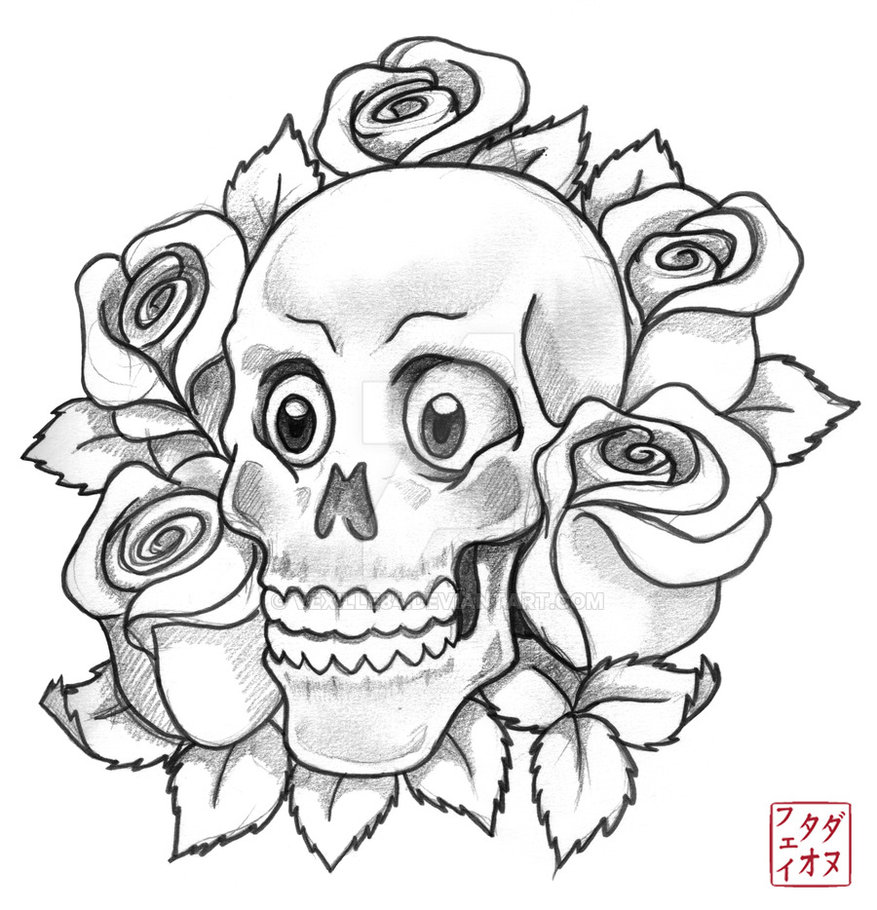 877x910 Skull With Roses Sketch By Vexille84