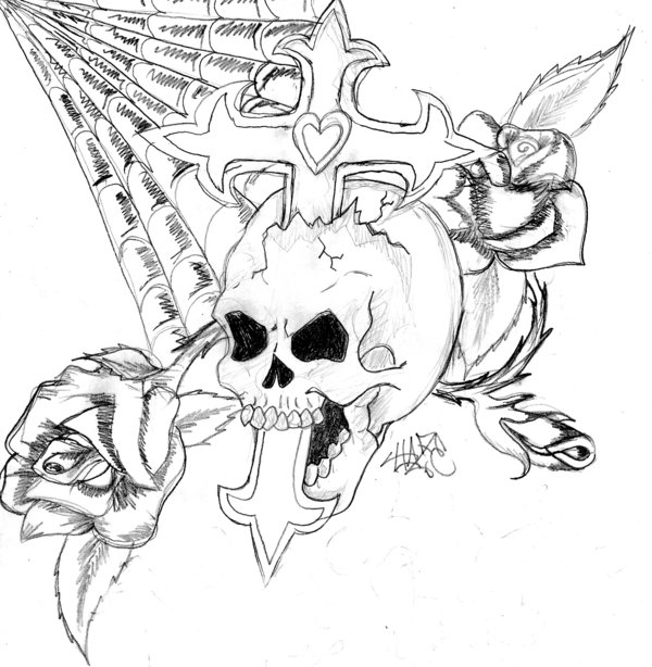 600x614 Collection Of Cross Bones Skull Spiderweb And Rose Tattoos