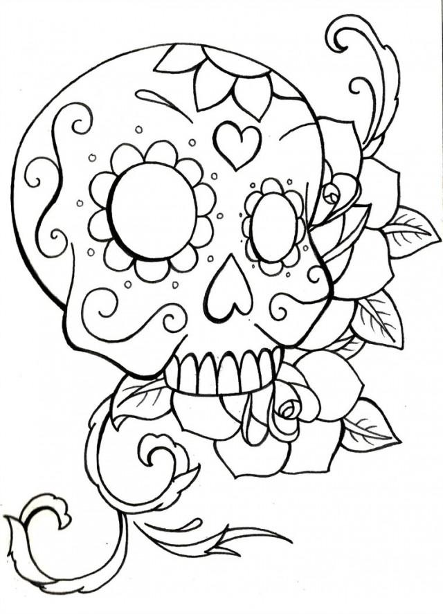 640x887 Sugar Skull Coloring Pages Many Interesting Cliparts