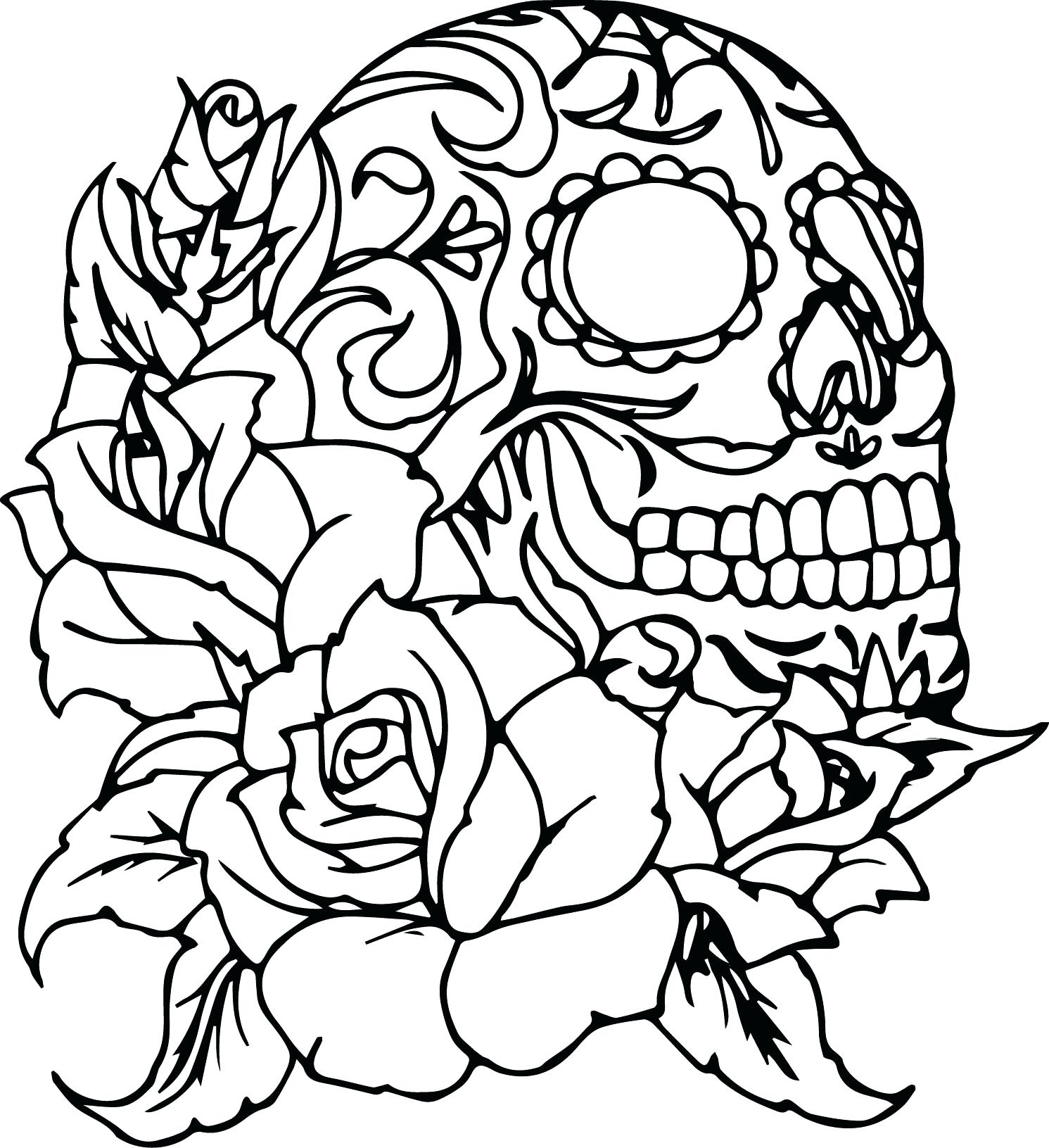 1491x1631 Coloring Coloring Pages Skull Day Of The Dead Skulls And Roses