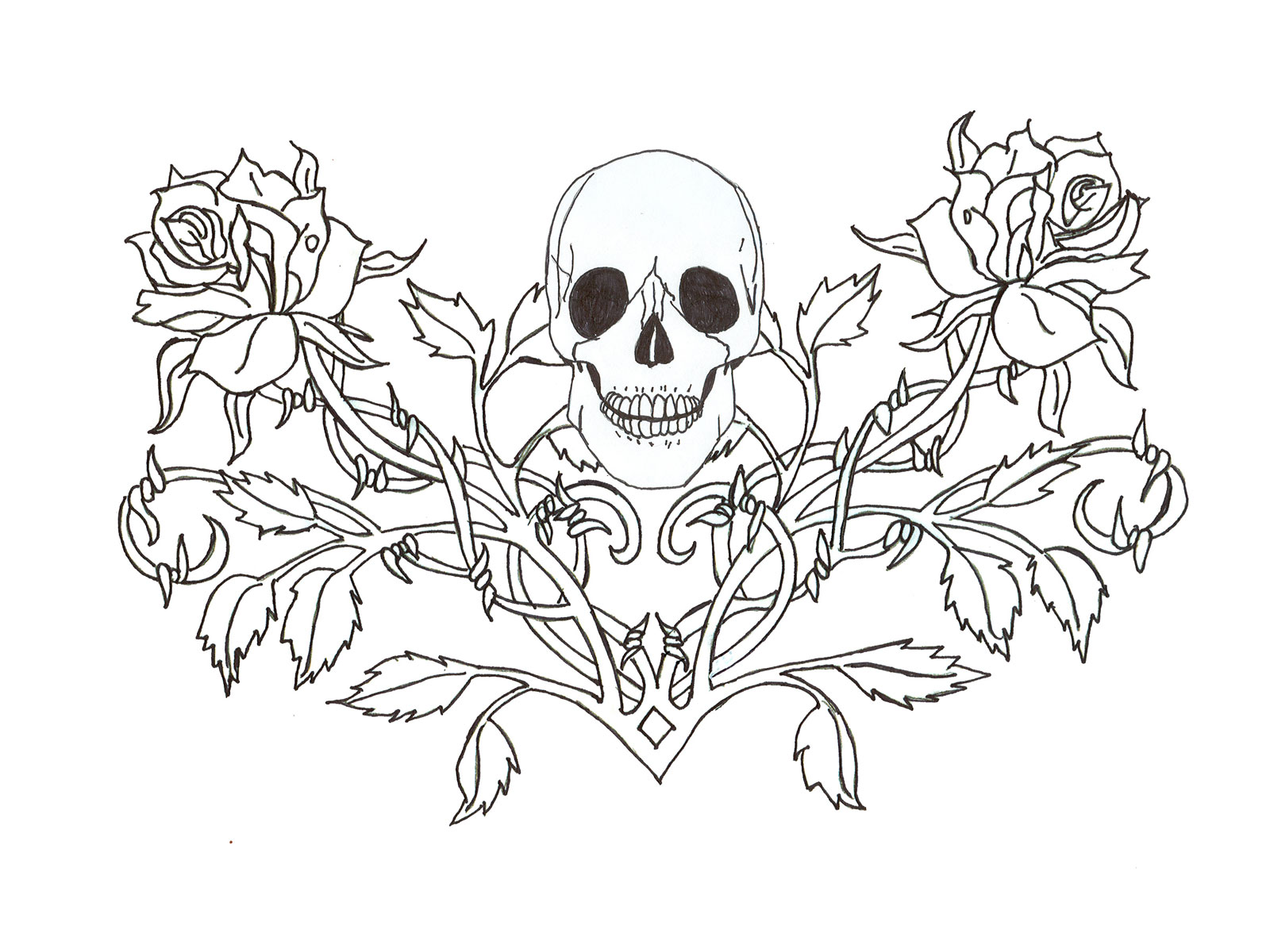 1600x1200 Collection Of Roses Moon Skull Heart Tattoo Designs