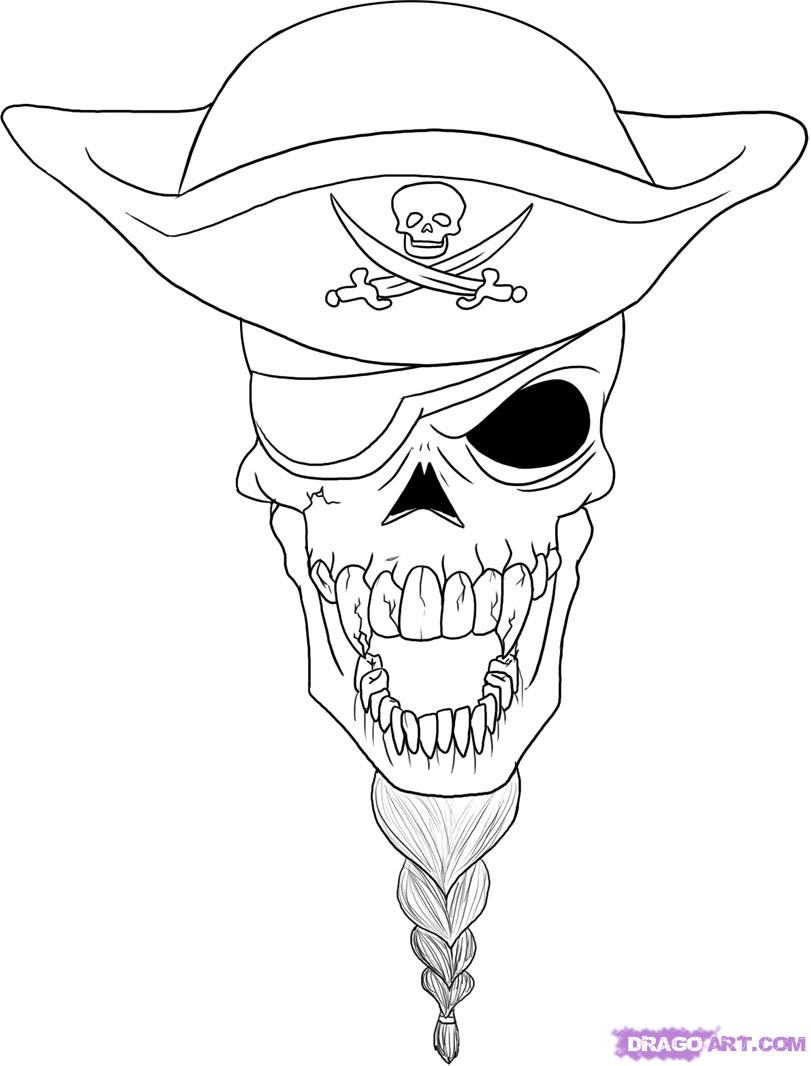 811x1066 Easy Drawing Of Skulls Coloring How To Draw A Pirate Skull Step By