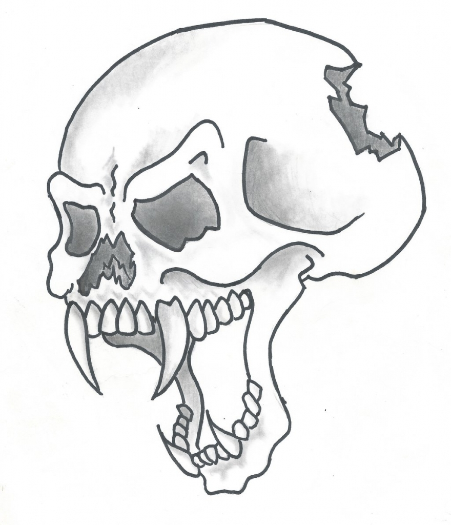 880x1024 Easy Drawings Of Skulls Pictures Of Drawings Of Skulls Clipartsco
