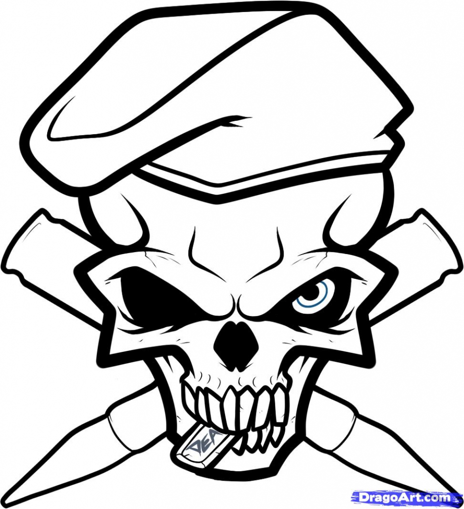 934x1024 Easy Skull Drawings How To Draw An Army Skull Army Tattoo Step