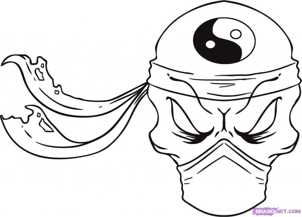 1024x734 Easy To Draw Skulls How To Draw A Ninja Skull Step Step Skulls Pop