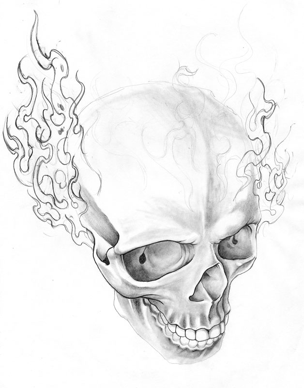 628x800 Drawings Of Skulls On Fire Group