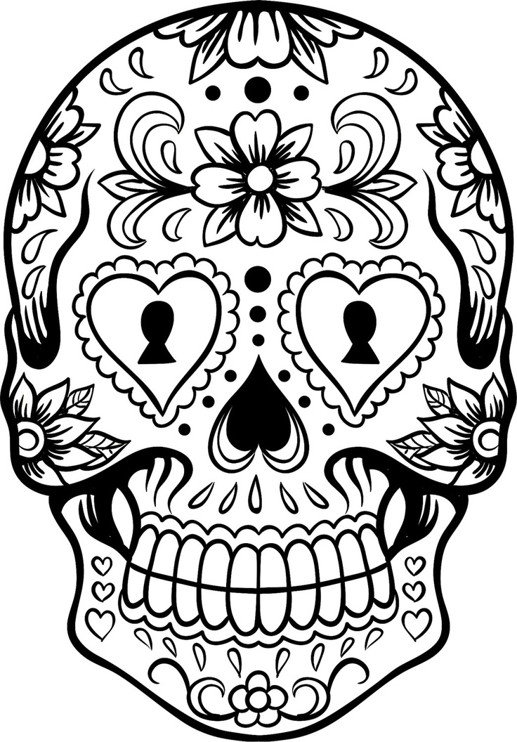 736x1056 Skull Coloring Page