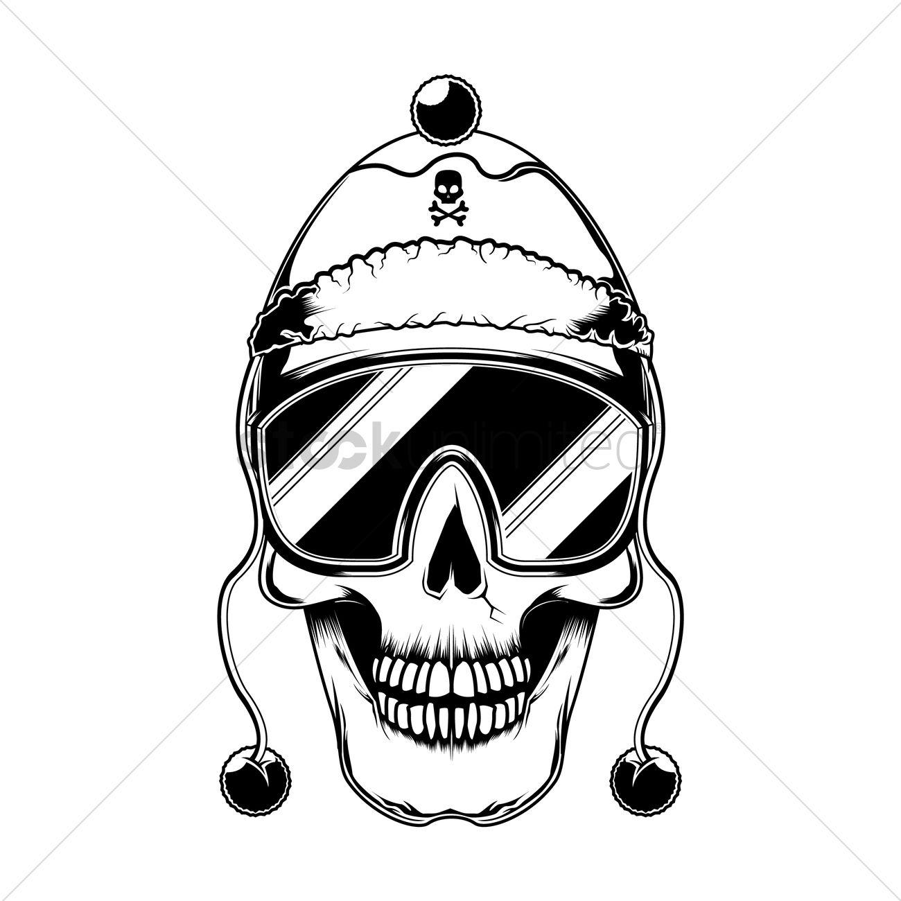 1300x1300 Skull With Beanie Cap Vector Image