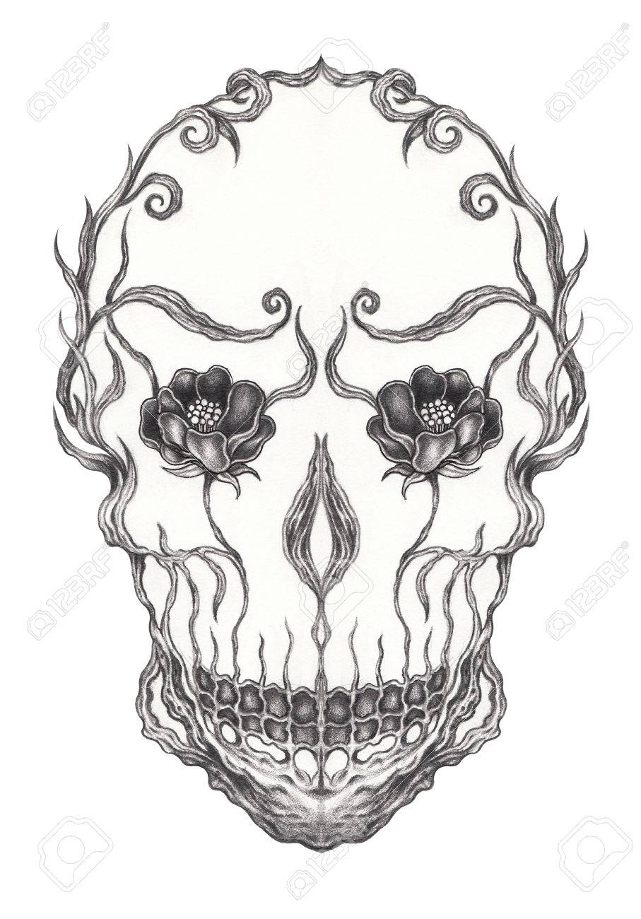907x1300 Art Surreal Skull.hand Pencil Drawing On Paper. Stock Photo