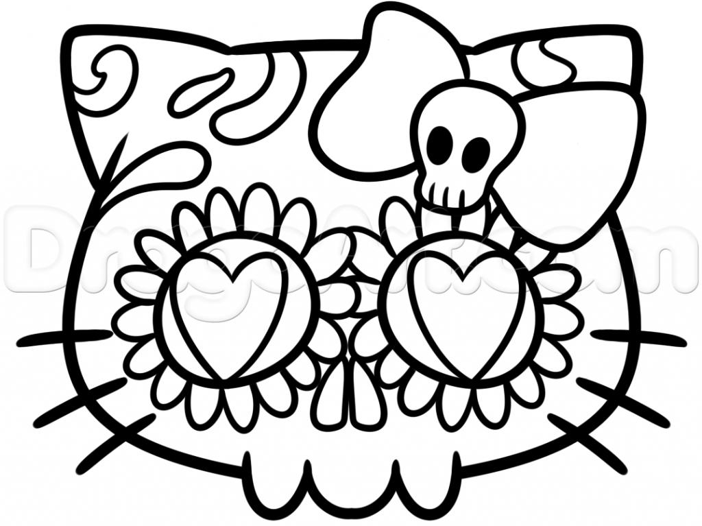 1024x767 Sugar Skull Drawing How To Draw A Sugar Skull Easy Step Step