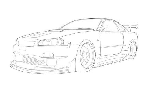 Image Of Skyline Car Outline Skyline Car Drawing At Getdrawingscom