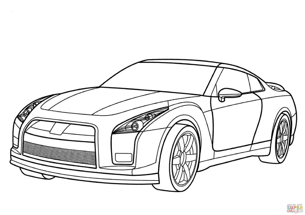 1024x724 Nissan Gt R Car Coloring Page
