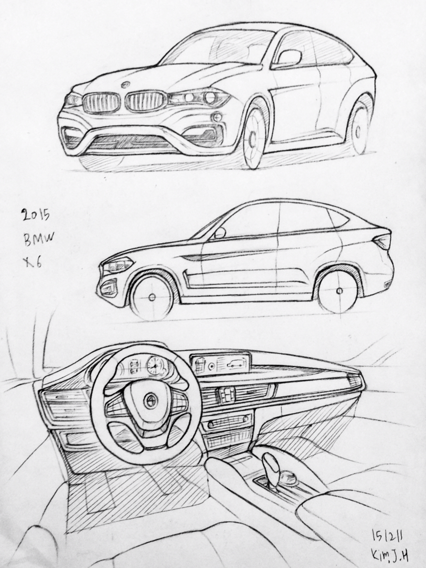 852x1136 Car Drawing 151211 2015 Bmw M6. Prisma On Paper. Kim.j.h Car