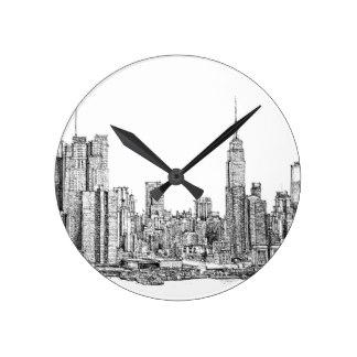 324x324 Ink Drawing Wall Clocks Zazzle