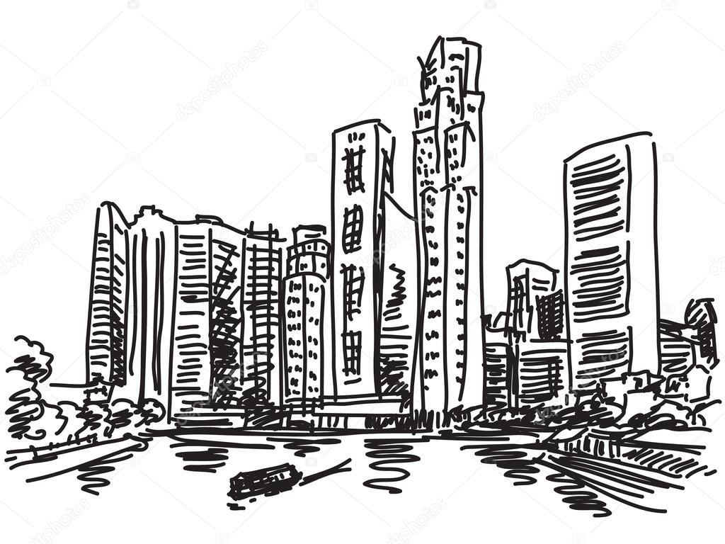 1024x768 Singapur Skyline Skizze Stockvektor Olgatropinina