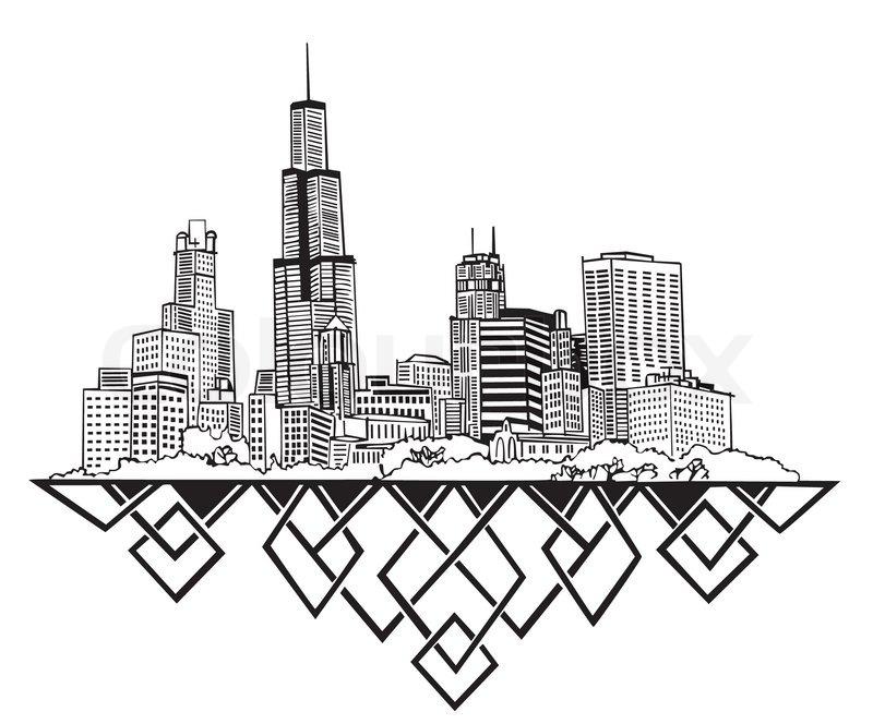 800x664 Chicago, Il Skyline Stock Vector Colourbox