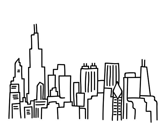 550x420 Chicago Skyline Outline Photographic Prints By Emmybdesigns