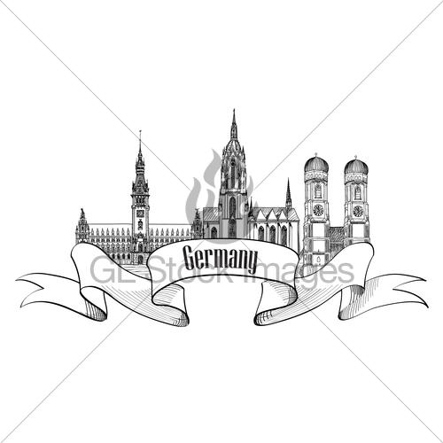 500x500 Famous German City Landmark Set. Travel Germany Sign Gl Stock Images