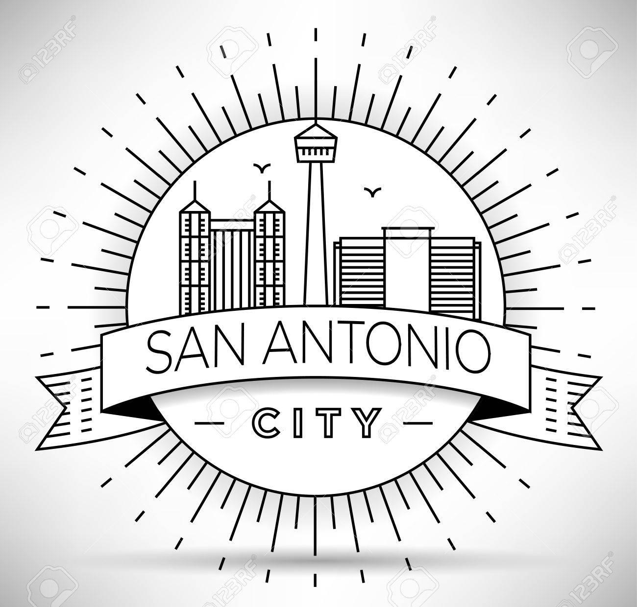 1300x1240 Minimal San Antonio City Linear Skyline With Typographic Design
