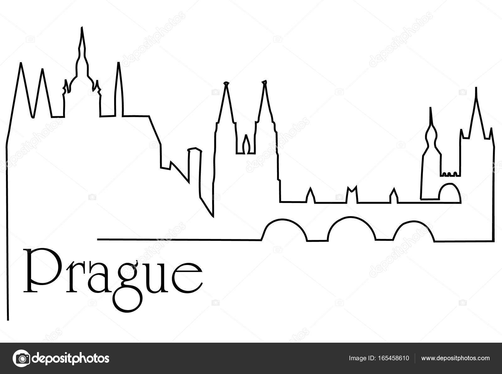 1600x1194 Prague City One Line Drawing Background Stock Vector Agnieszka