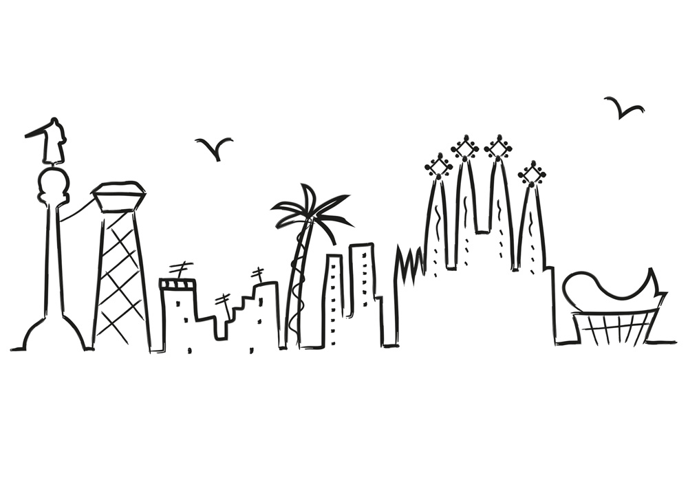 1000x720 D'Aina Illustration Amp Graphic Design Skyline Barcelona