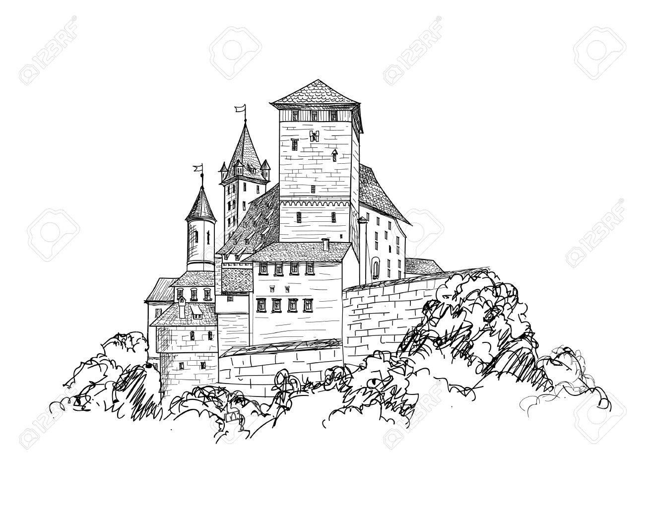 1300x1052 Ancient Castle Landscape Engraving. Tower Building Sketch Skyline