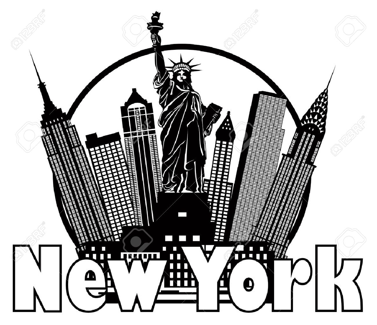 1300x1123 New York City Skyline With Statue Of Liberty Black And White