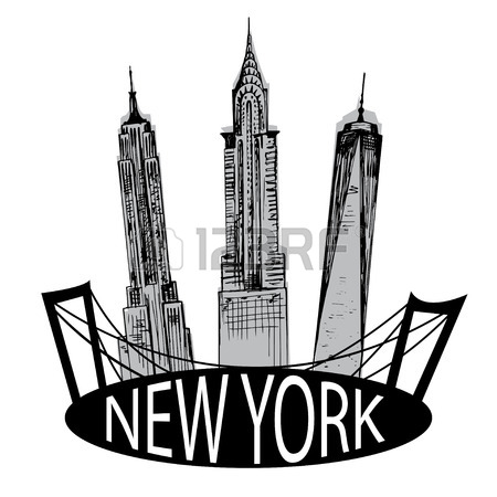 450x450 Hand Drawn New York Famous Buildings Royalty Free Cliparts