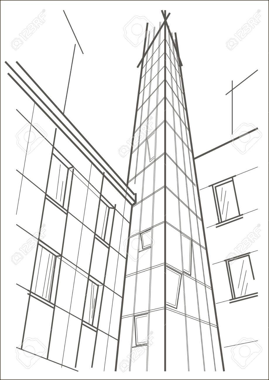 919x1300 Linear Architectural Sketch Of Skyscraper Tower Royalty Free