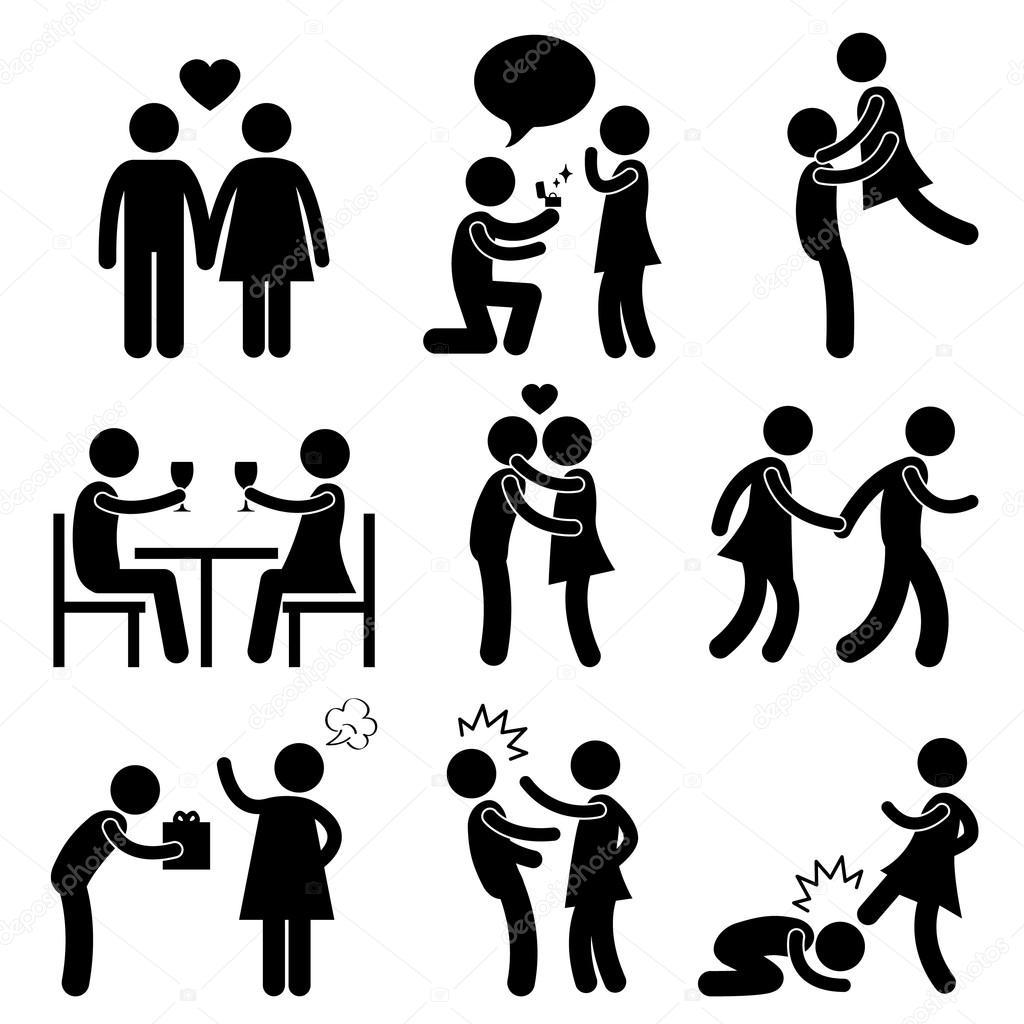 1024x1024 Lover Couple Love Proposal Hug Angry Slap Kick Stock Vector