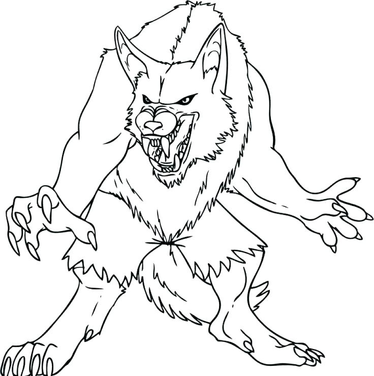 736x739 How To Draw A Cartoon Werewolf Step 8 Best Fantasy Coloring Pages