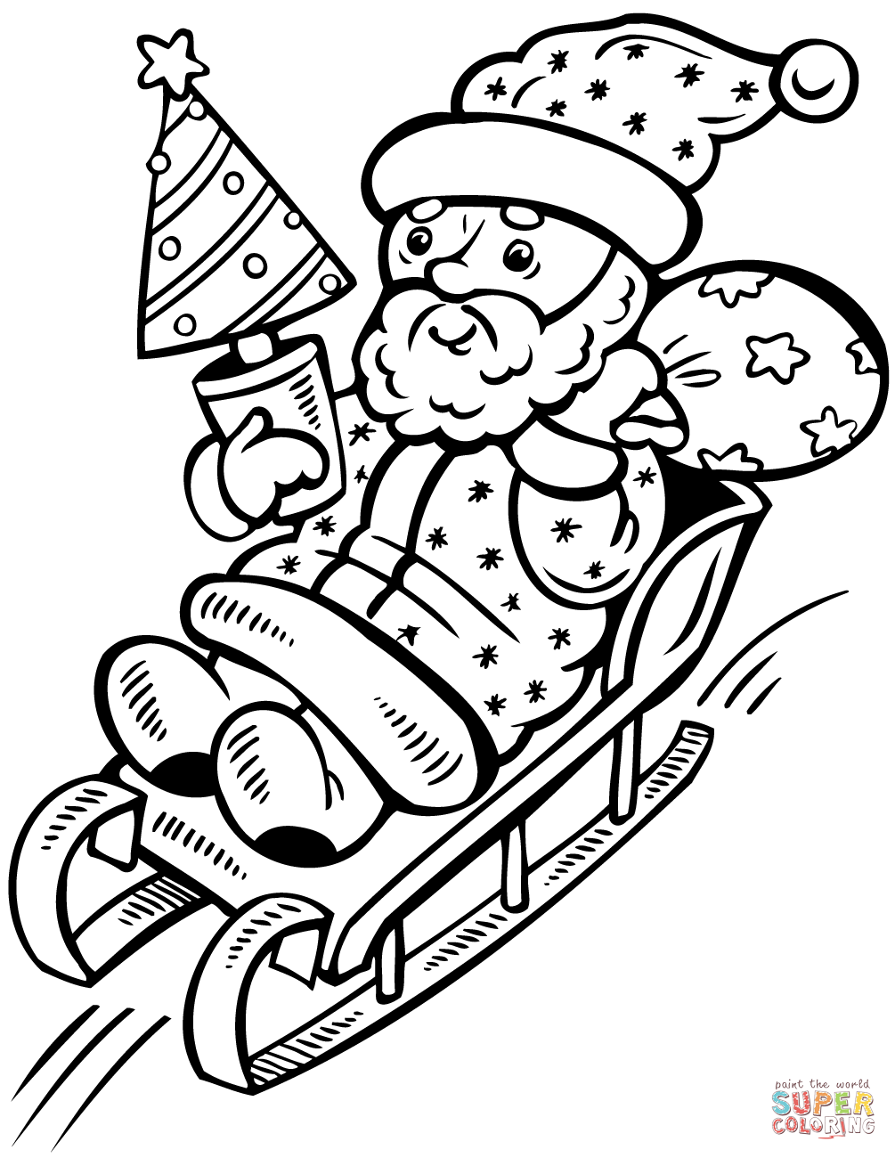 1005x1300 Santa Claus On Sleigh With Christmas Tree Coloring Page Free