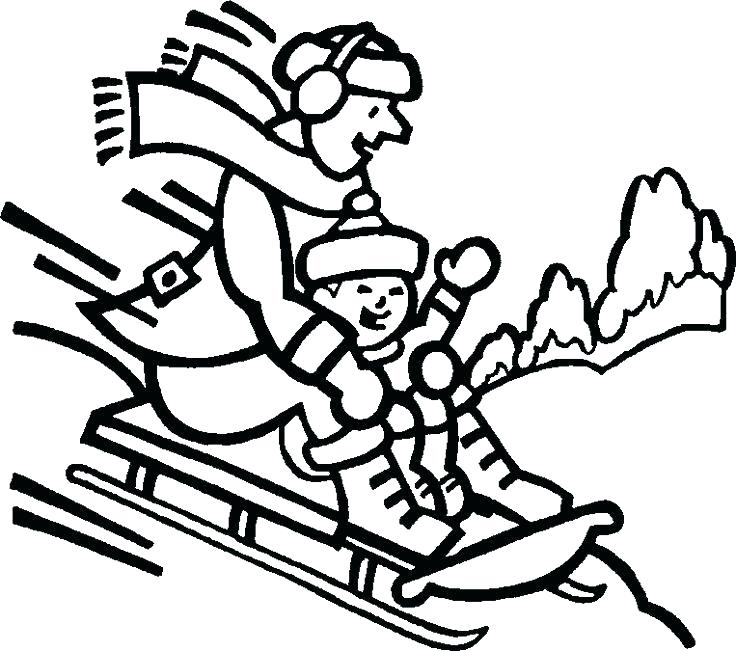 736x651 Coloring Pages Winter Sledding Coloring Pages Winter Coloring