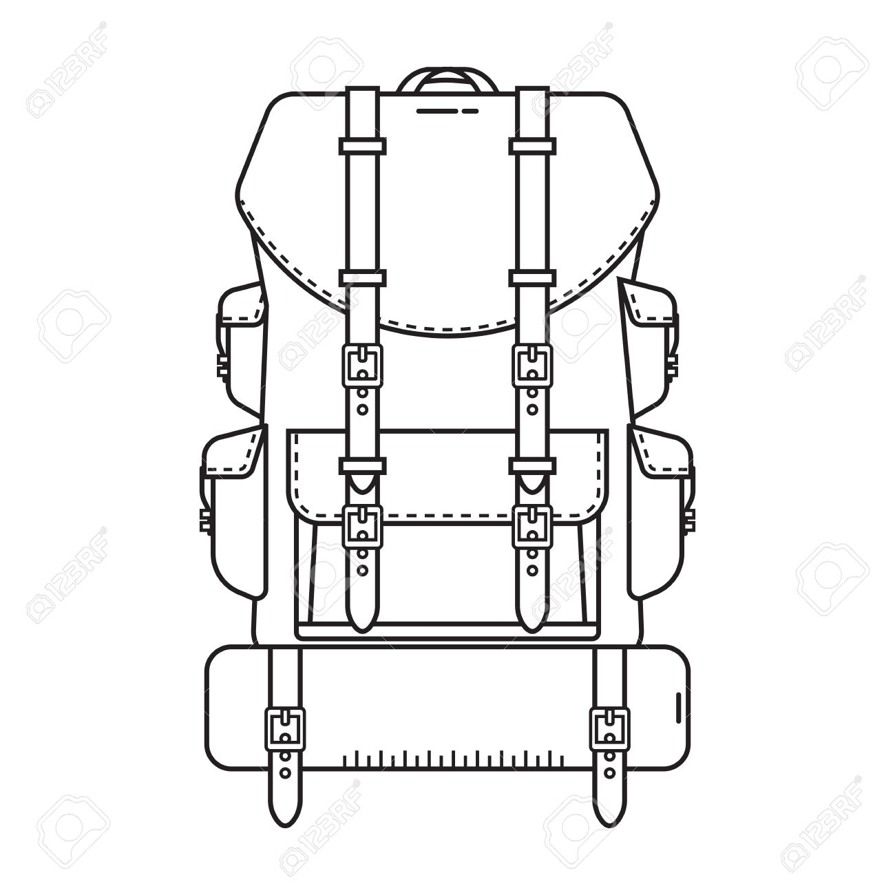 1300x1300 Retro Hiking Backpack In Thin Line Design. Tourist Rucksack