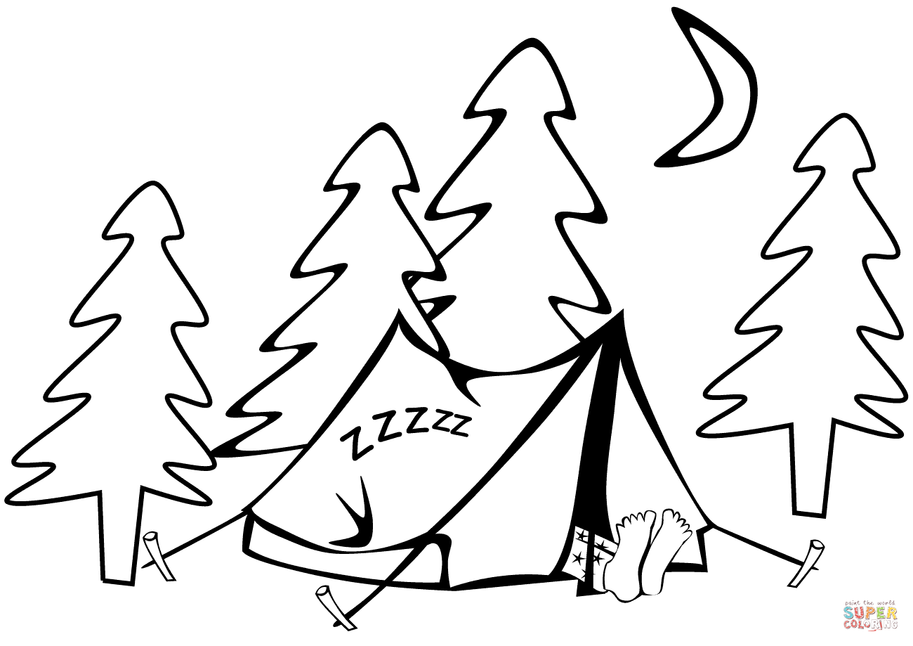 1300x919 Summer Camp Tent Sleeping Bag Coloring Page Wecoloringpage