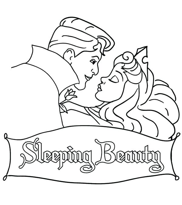 600x675 Sleeping Beauty Coloring Pages Prince Is Going To Kiss Princess