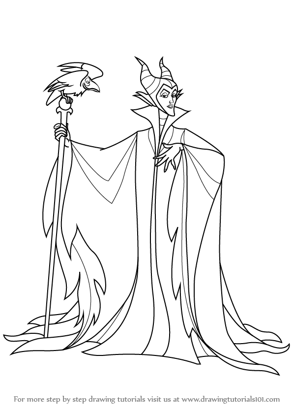 598x845 Step By Step How To Draw Maleficent From Sleeping Beauty