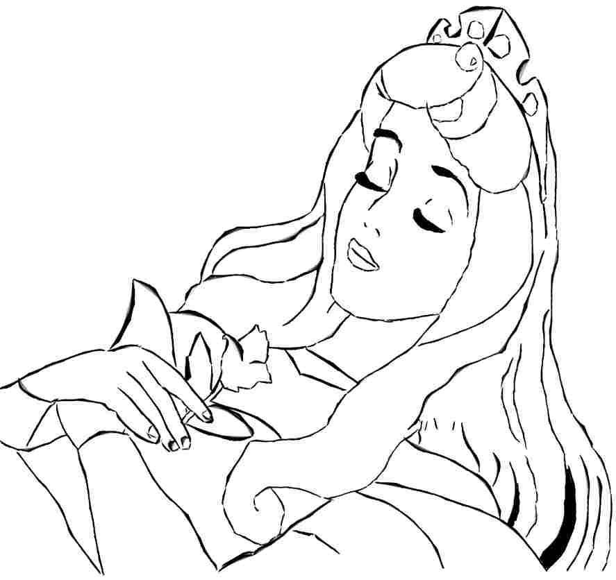 887x836 Sleeping Beauty Coloring Pages