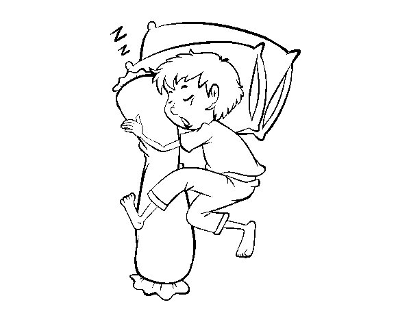 600x470 Sleeping Little Boy Coloring Page