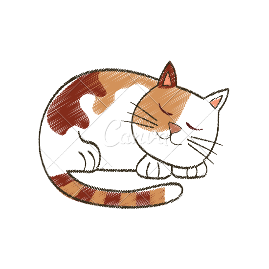 550x550 Cute Sleeping Cat Cartoon