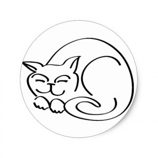 320x320 Adorable Sleeping Cat Nap Cartoon Drawing Sticker Zazzle Easy