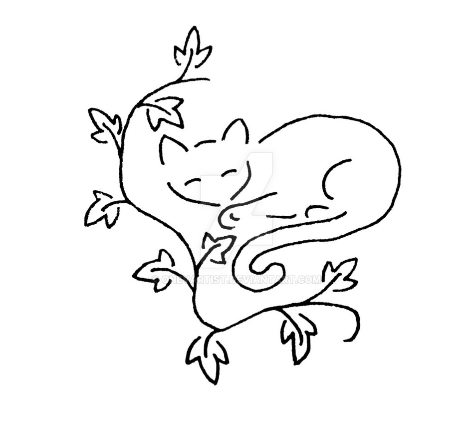948x843 Sleeping Cat With Ivy Vines Byevartist
