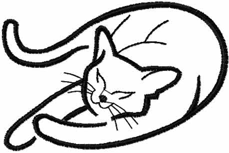 458x307 Sleeping Cat Free Embroidery Design 3