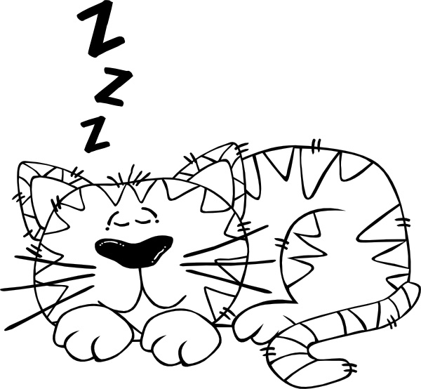 600x554 Cartoon Cat Sleeping Outline Clip Art Free Vector In Open Office
