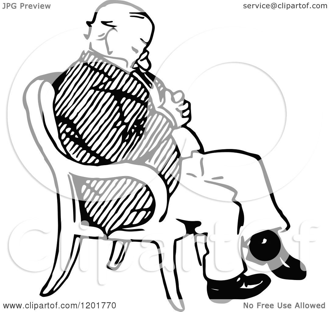 1080x1024 Clipart Of A Vintage Black And White Old Man Sleeping In A Chair