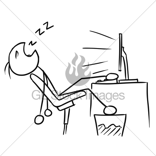 500x500 Cartoon Of Man Sleeping In Front Of The Computer Screen Gl Stock